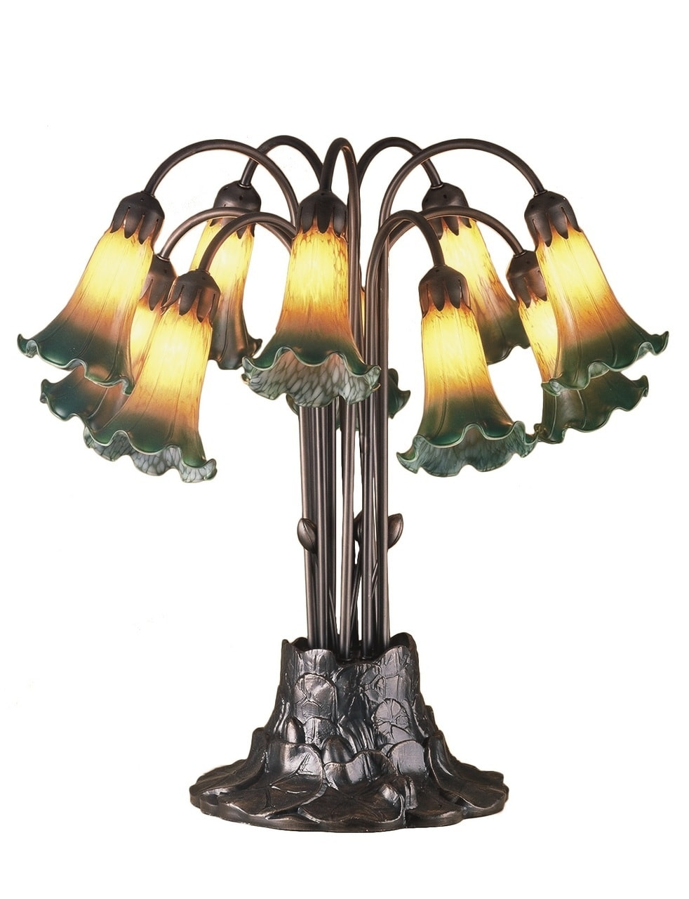 products amber green pond lily 10 light table lamp 14357  29148.1514824359.1280.1280