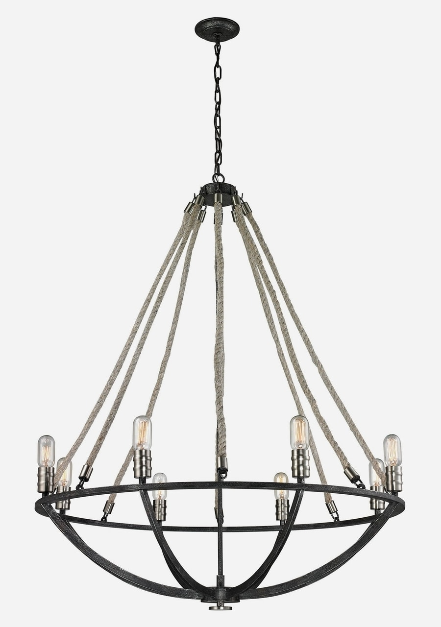 Natural Rope 8 Light Chandelier By Elk Lighting 35 W X 44 H