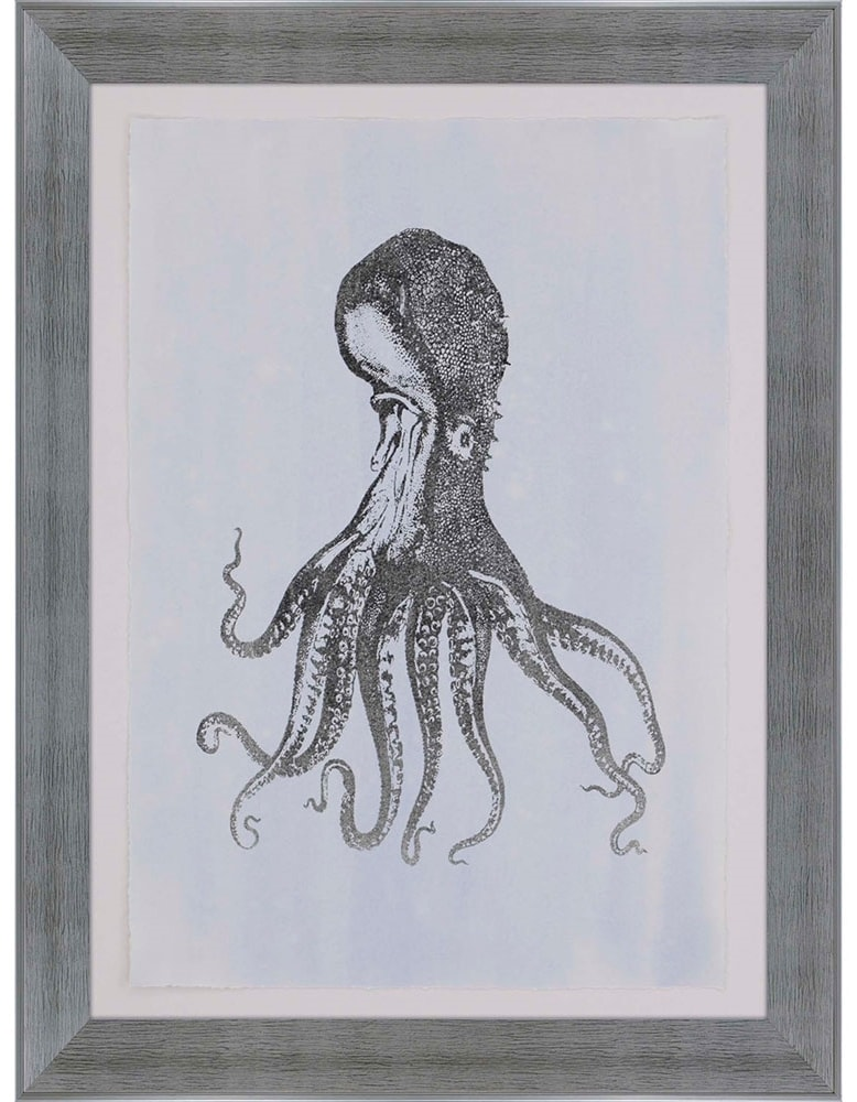 products silver foil octopus i framed wall art b 3762  45458.1489815458.1280.1280