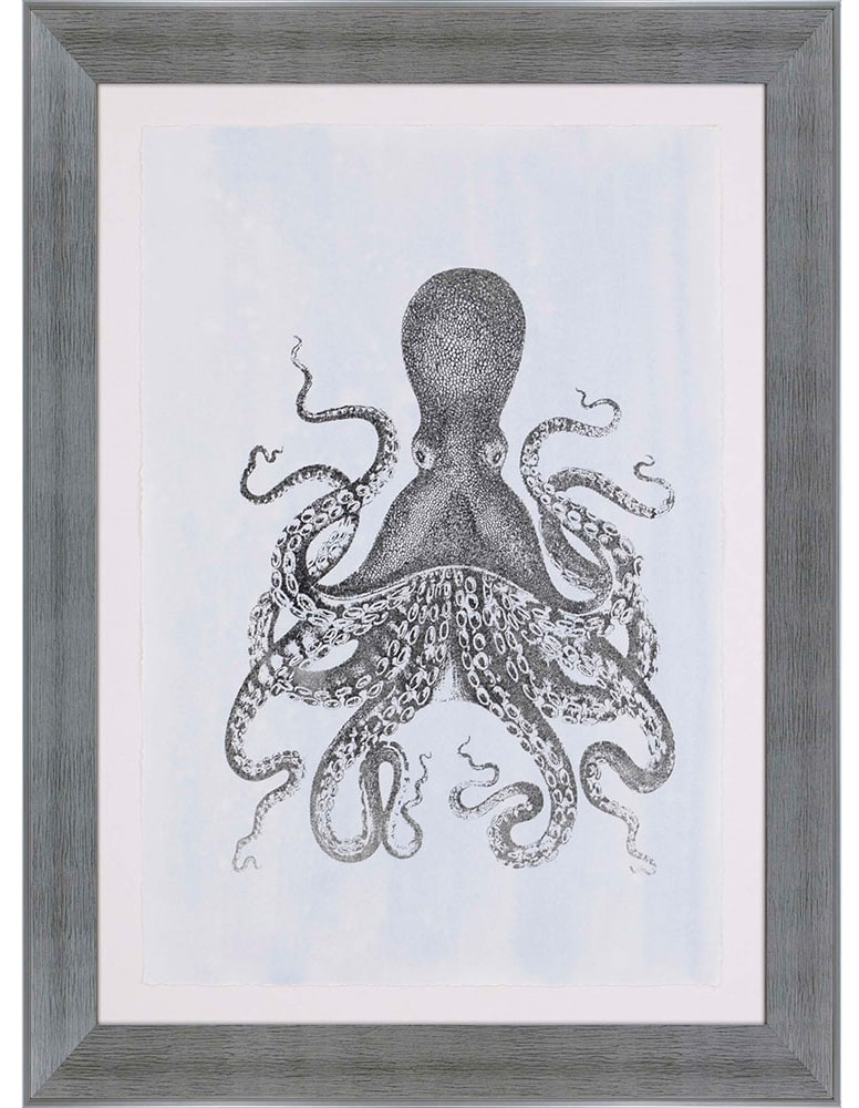 products silver foil octopus ii framed wall art b 3763  26714.1489571587.1280.1280
