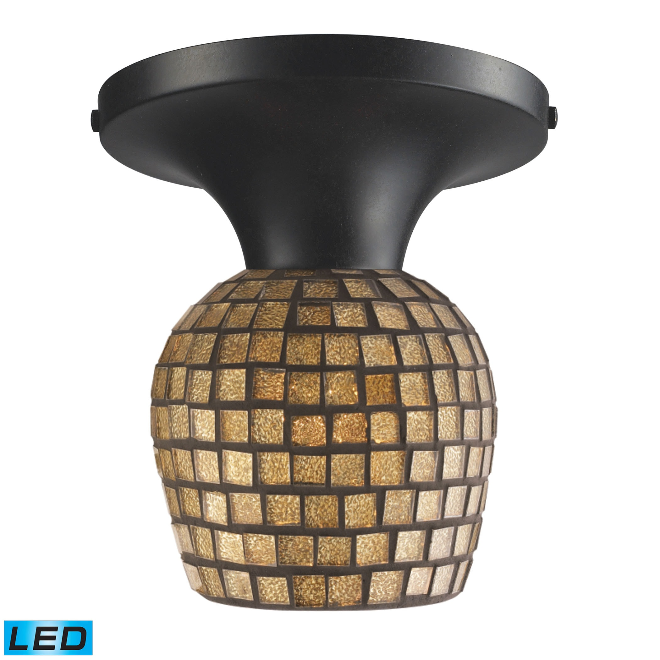 EL-10152/1DR-GLD-LED_Celina 1-Light Semi-Flush in Dark Rust and Gold Leaf Glass - LED Offering Up To 800 Lumens (60 Watt