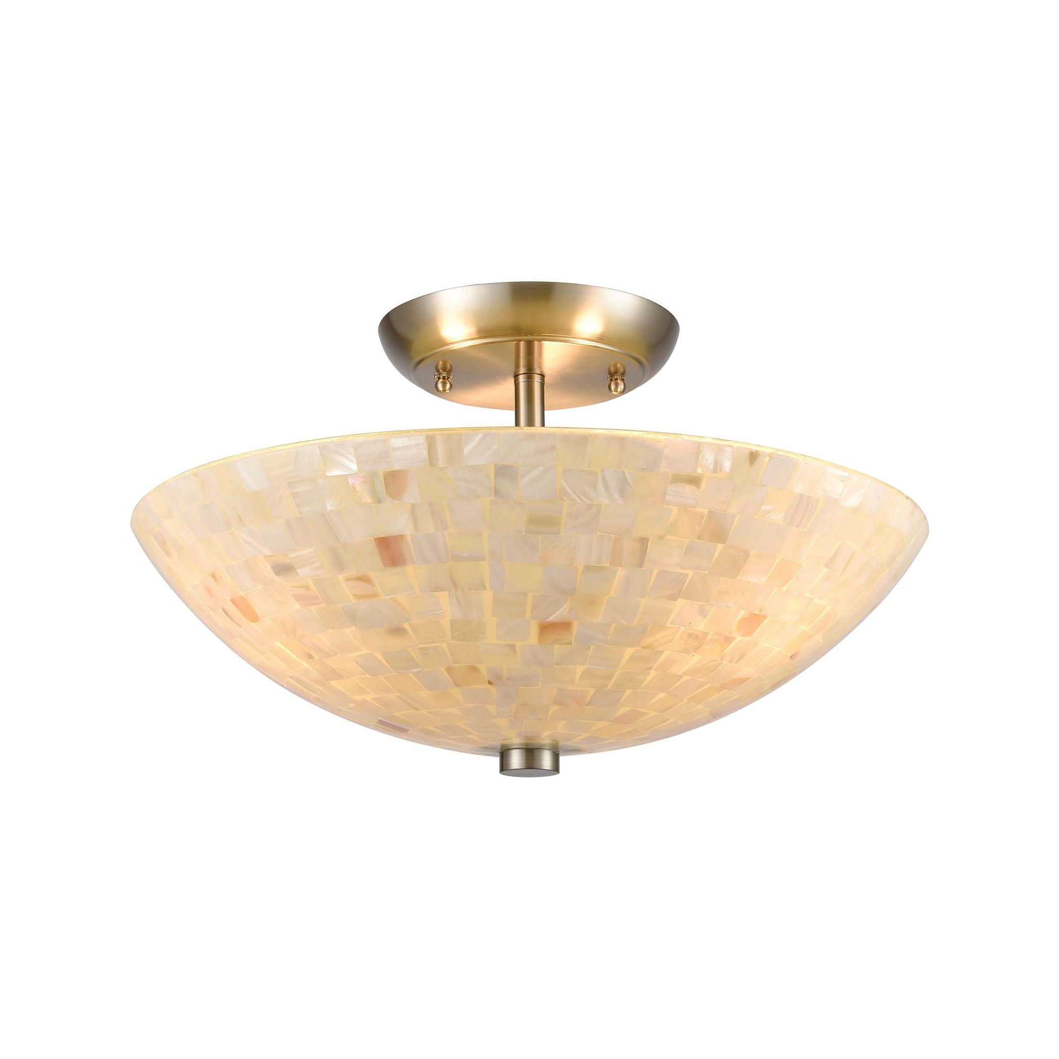 EL-10541/3_Capri 3-Light Semi Flush Mount in Satin Nickel with Glass/Capiz Shells