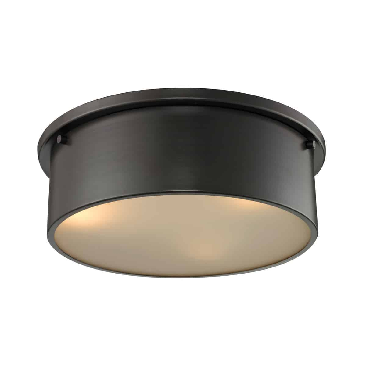 EL-11811/3_Understated design attributes coupled with function and versatility give these flushes range to fit within a variety of style themes. Frosted white diffuser beautifully contrasts with the metalwork finished in Brushed Nickel or Oil Rubbed Bronze.