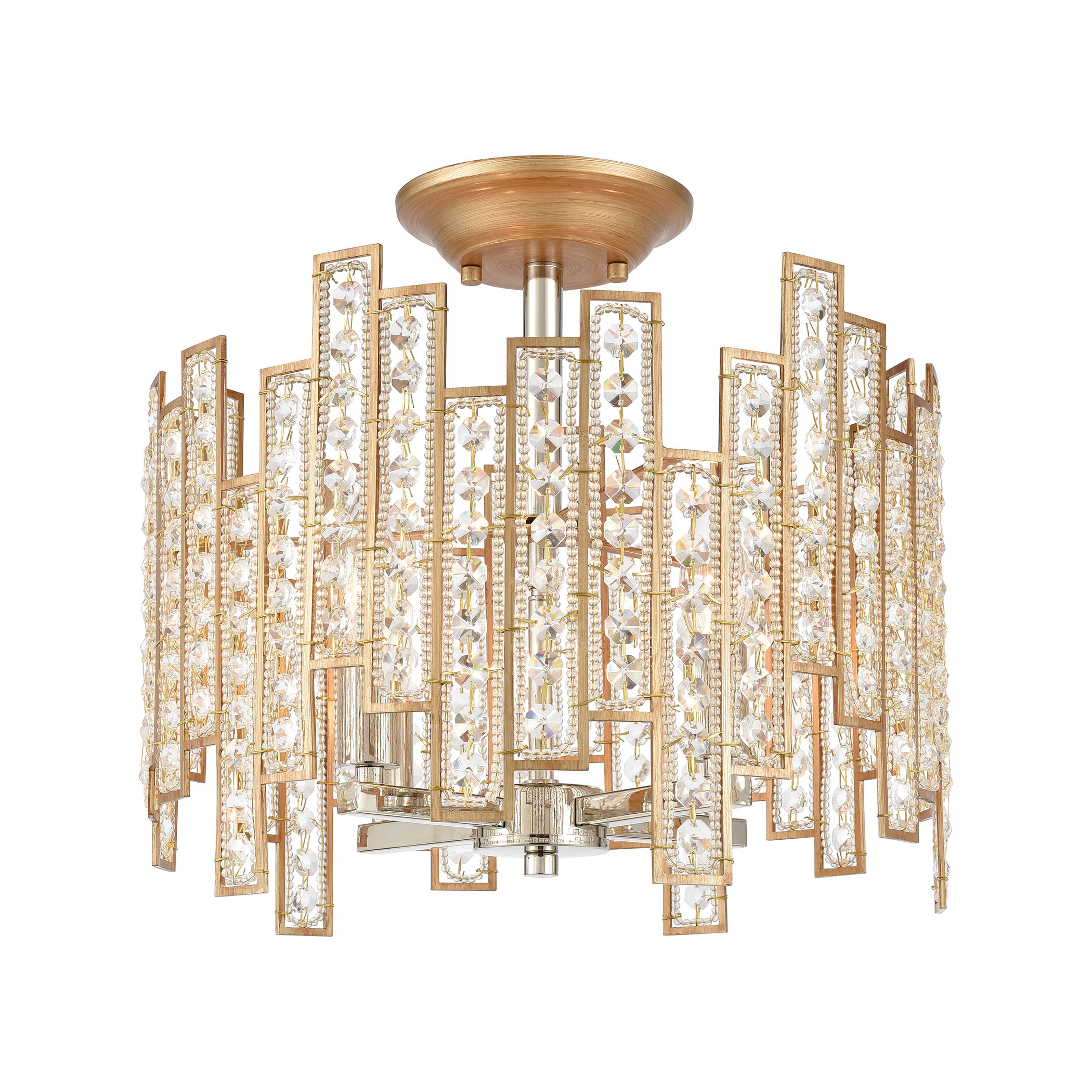 EL-12131/4_Equilibrium 4-Light Semi Flush Mount in Matte Gold with Clear Crystal