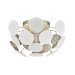 """EL-18284/4_The Modish semi flush features an """"explosion""""of white discs that combine to form a captivating sphere of design energy.  The Matte White finish on the discs is balanced with a hand applied Silver Leaf finished interior for a dynamic combination."""