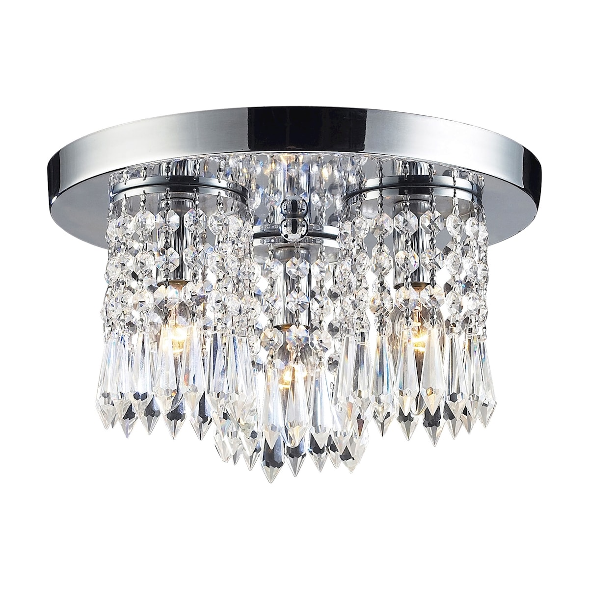 EL-1990/3_Optix Collection 3-Light Semi-Flush with 32% Lead Crysal and Polished Chrome Fin