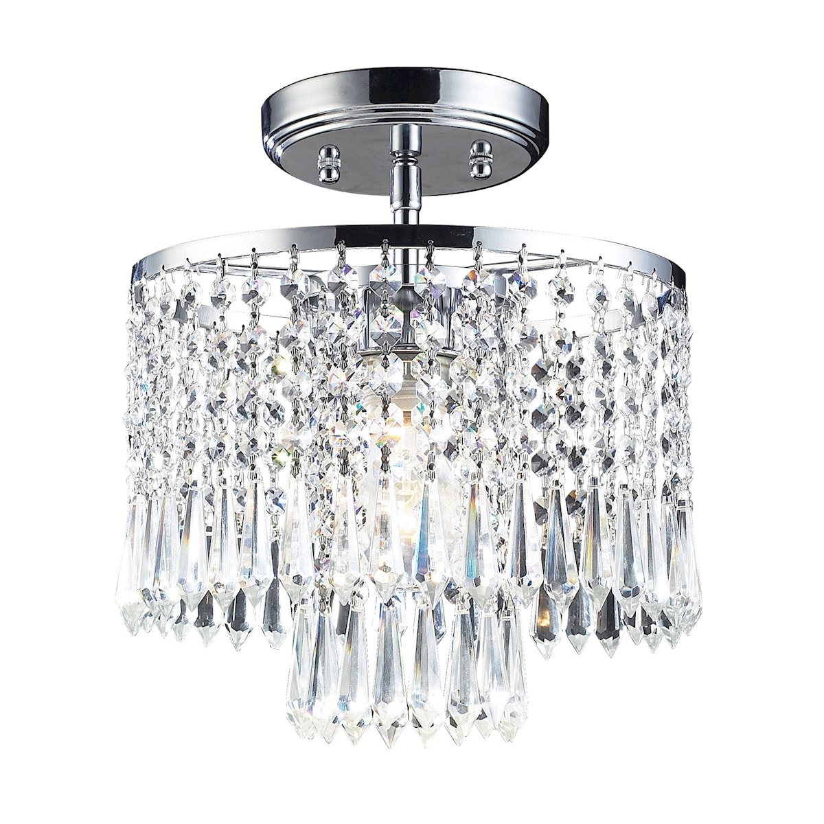EL-1991/1_Optix Collection 1-Light Flush Mount with 32% Lead Crystal and Polished Chrome Fi