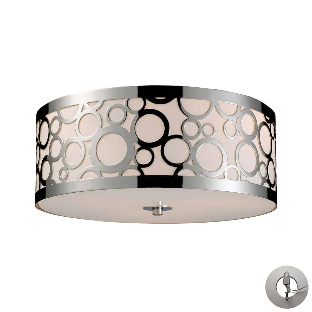 """EL-31024/3-LA_The Retrovia Flush pairs a graceful """"rising bubbles"""" motif crafted from lustrous laser-cut steel with an elegant Crème diffuser. A sensually contoured shape story completes the design. Beautiful Polished Nickel finish. Immaculate transitional look. LED optional."""