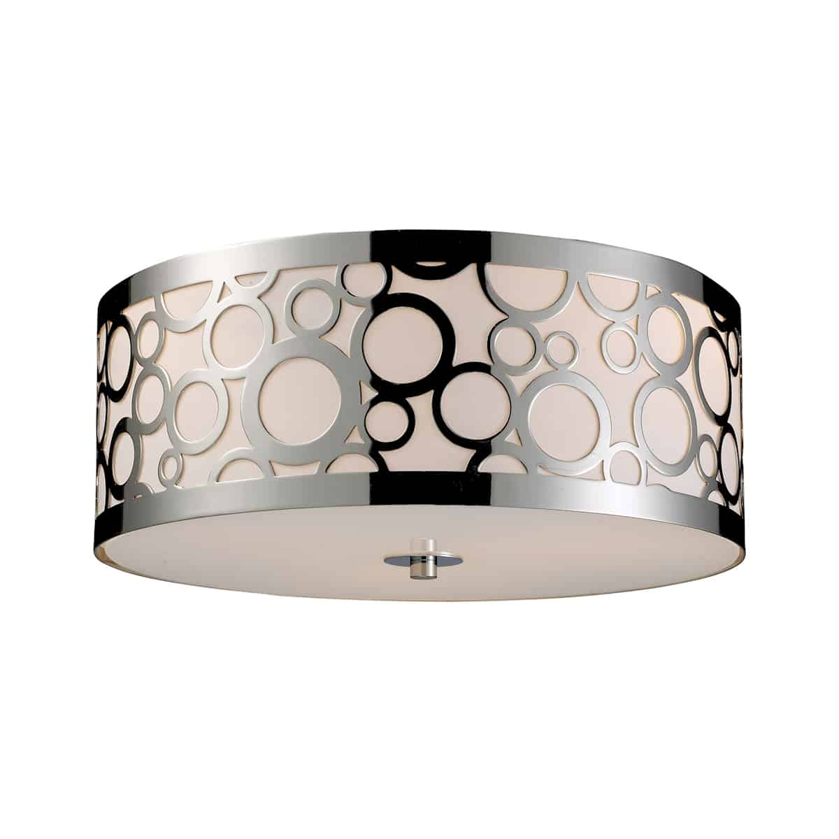"""EL-31024/3_The Retrovia Flush pairs a graceful """"rising bubbles"""" motif crafted from lustrous laser-cut steel with an elegant Crème diffuser. A sensually contoured shape story completes the design. Beautiful Polished Nickel finish. Immaculate transitional look. LED optional."""