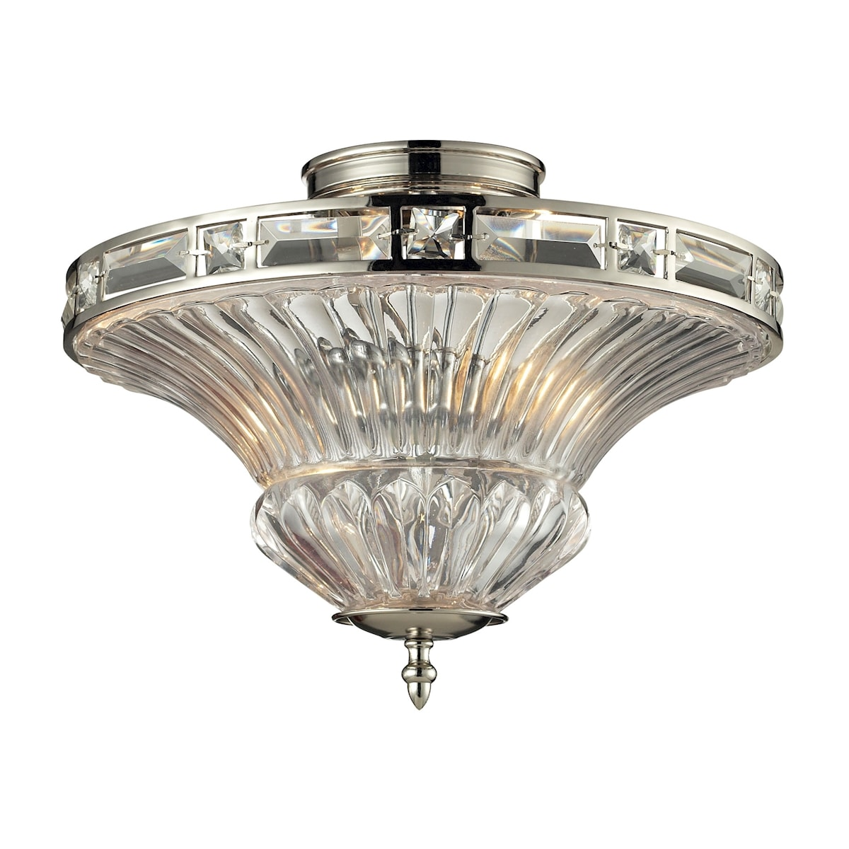 EL-31500/2_Aubree Collection 2 light semi flush in Polished Nickel