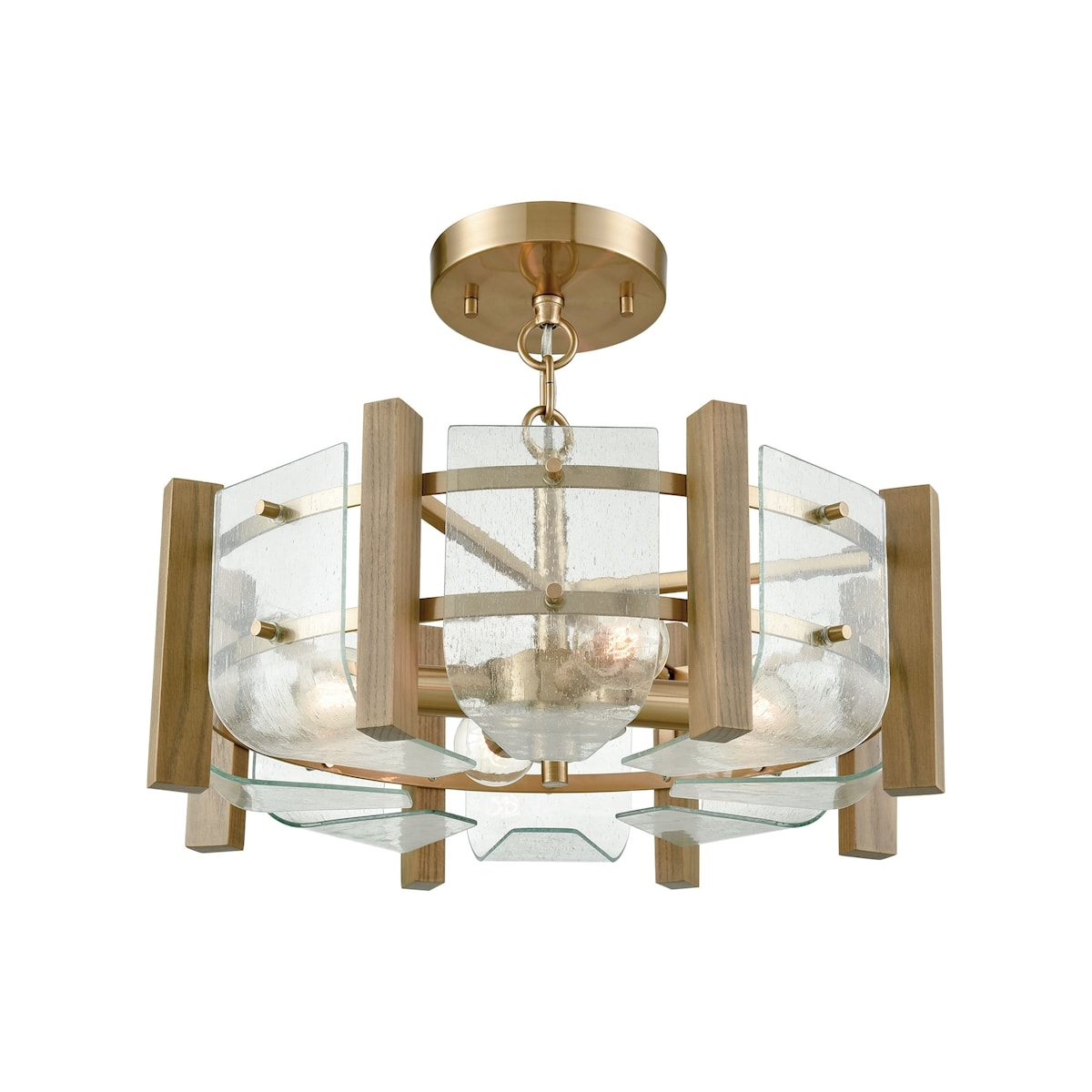 EL-32331/4_Vindalia 4 Light Semi Flush in Satin Brass with Wood Slats and Curved Glass