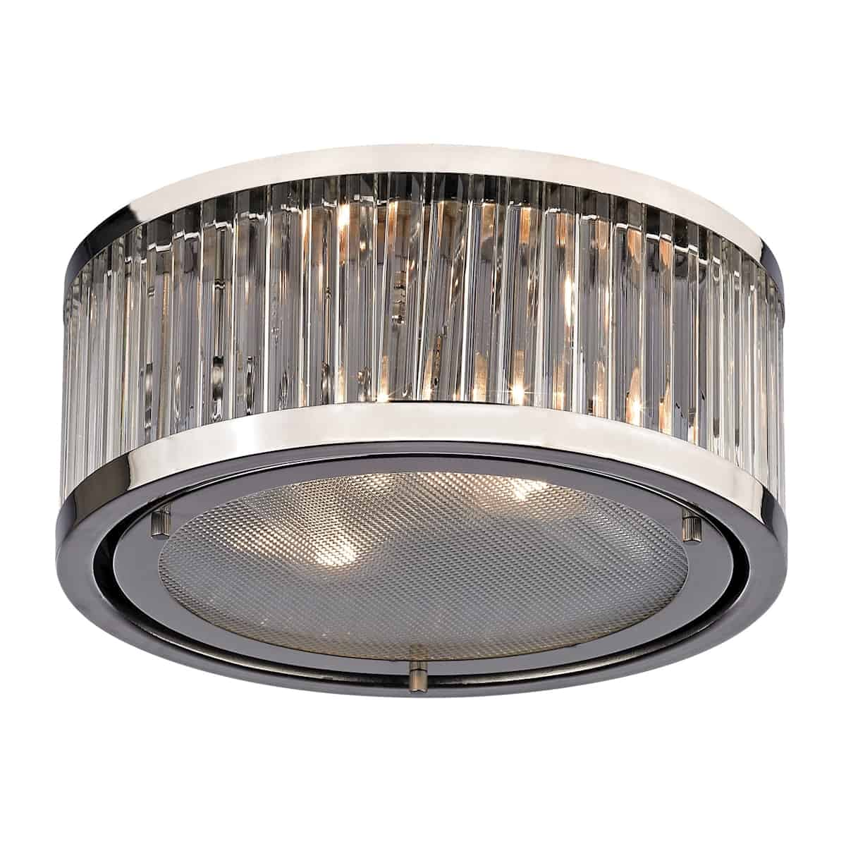 EL-46102/2_The Linden Manor collection features a drum shape made from a textural wall of metal or crystal. A frosted glass diffuser (metal tube items) or textured clear glass (crystal items) is cleverly recessed into the drum for a smooth