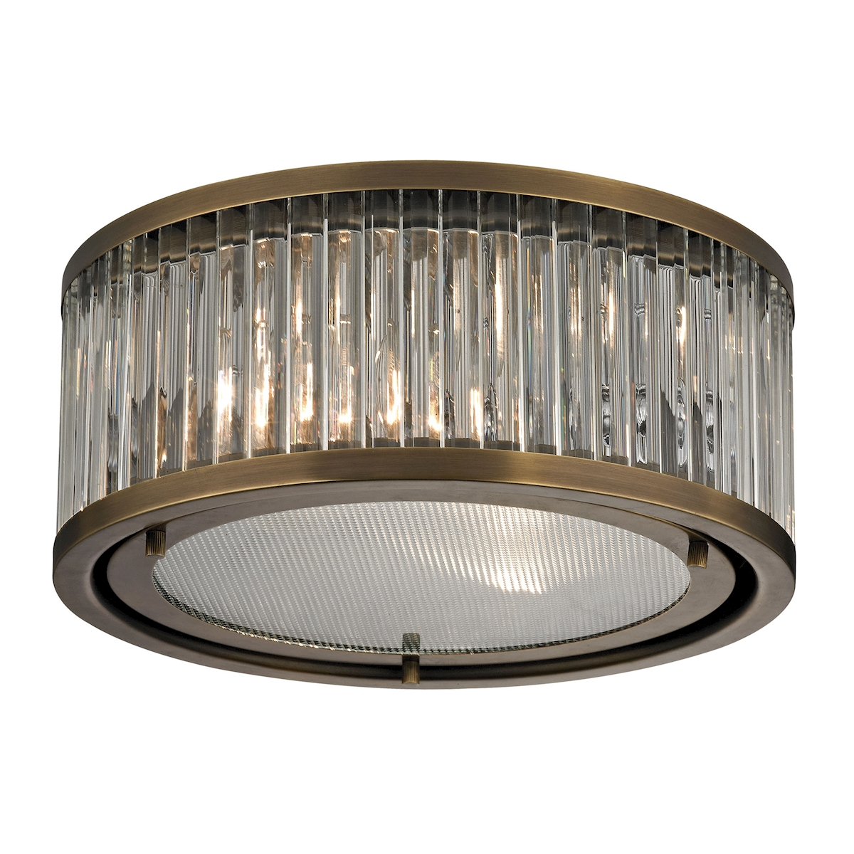 EL-46122/2_The Linden Manor collection features a drum shape made from a textural wall of metal or crystal. A frosted glass diffuser (metal tube items) or textured clear glass (crystal items) is cleverly recessed into the drum for a smooth