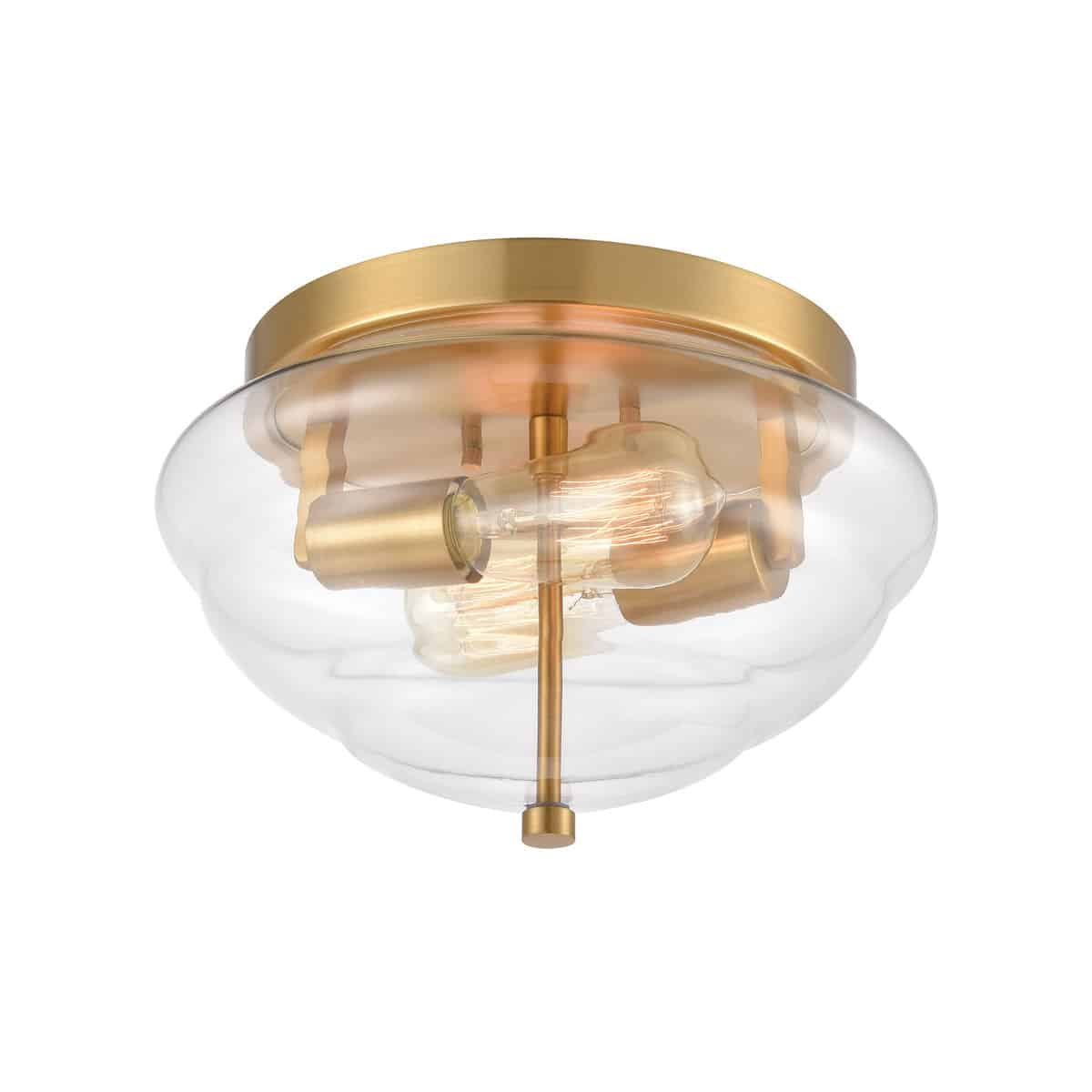 EL-46554/2_Flush mount in Brushed Brass with clear glass.