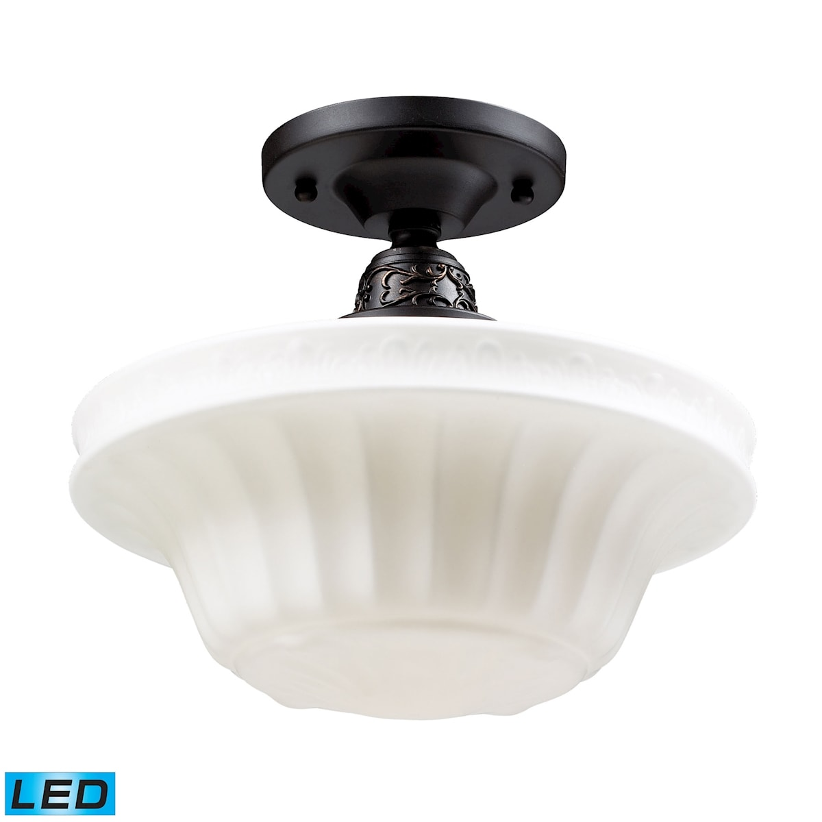 EL-66221-1-LED_Quinton Parlor Oiled Bronze Semi-Flush - LED Offering Up To 800 Lumens (60 Watt Equivalent) with Ful