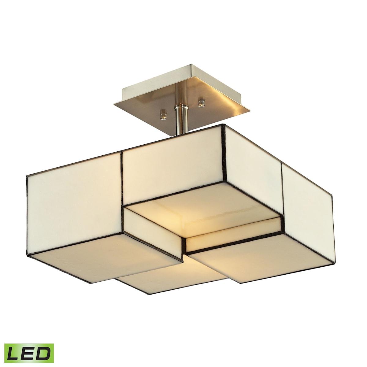 EL-72061-2-LED_Cubist Collection 2 light semi flush in Brushed Nickel - LED