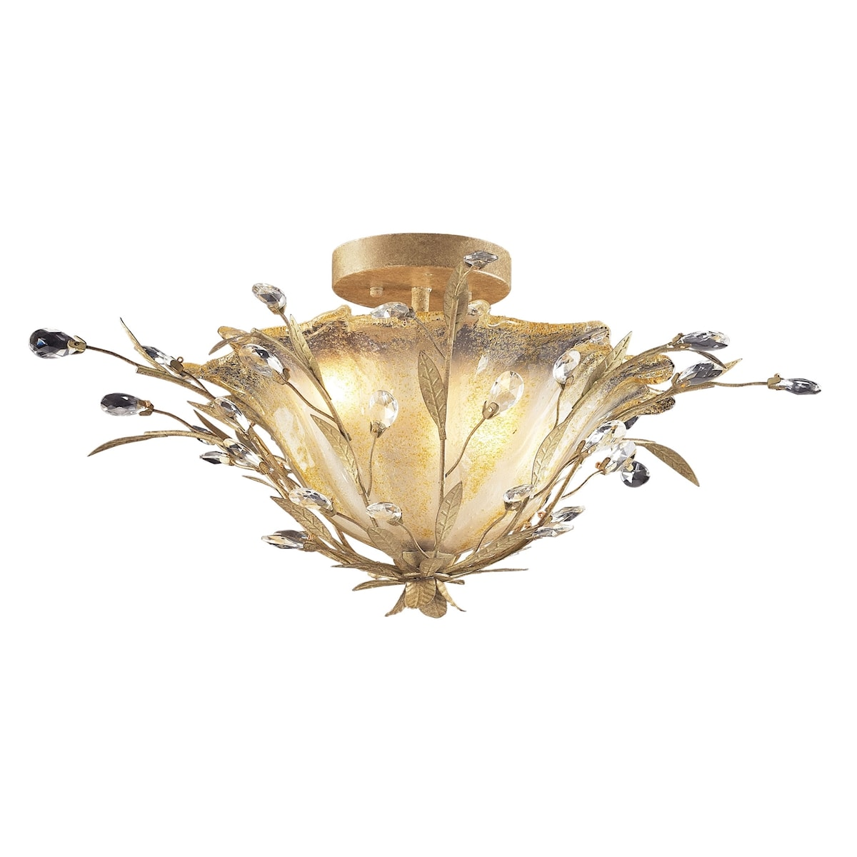 EL-8069/2_Circeo Vetro Collection 2-Light Flush Mount with A Caramel Hand Formed Glass in A Russ