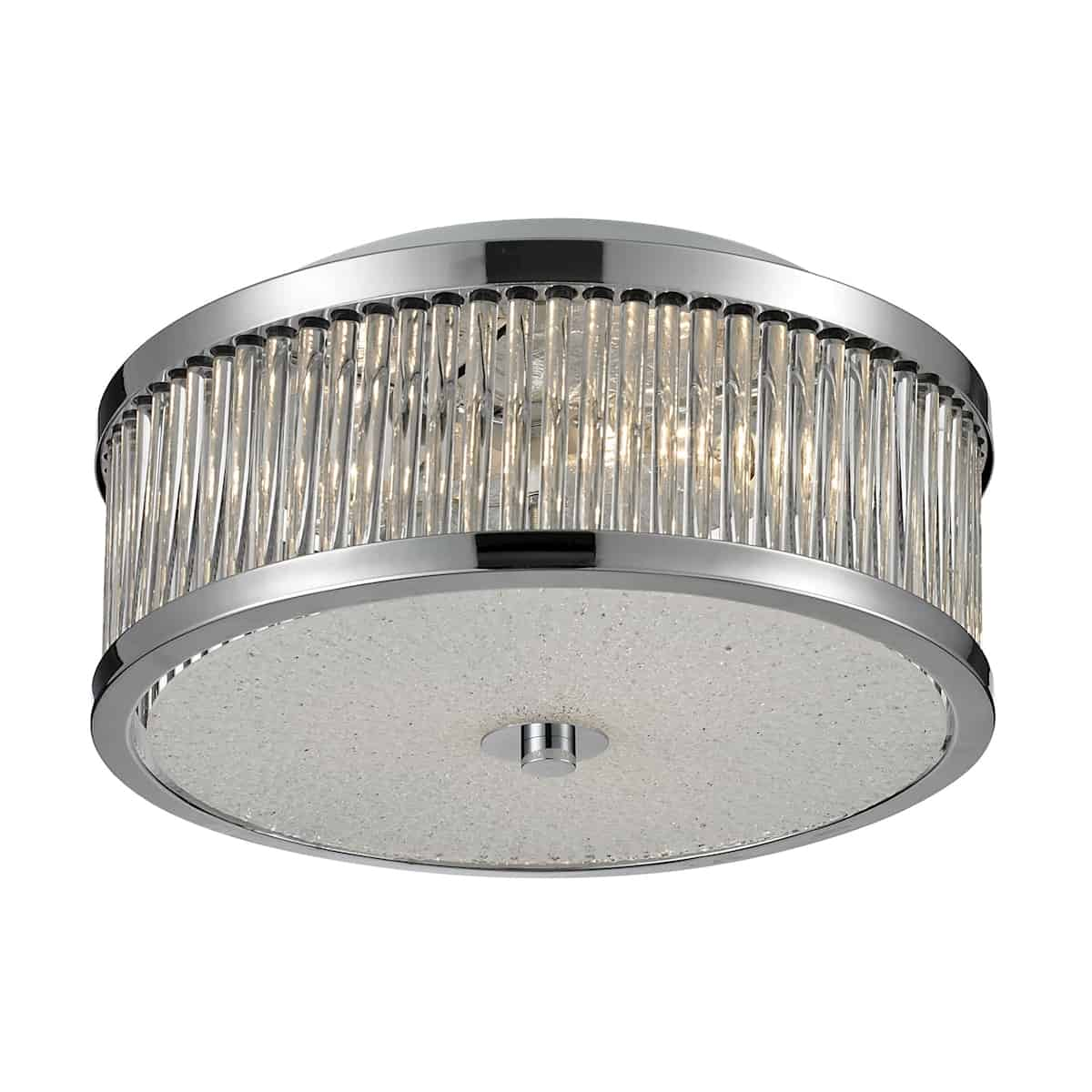 EL-81040/3_This sleek drum shaped design has glass rods that diffuse light into a glistening array. The characteristics of the textured glass diffuser and polished chrome finish further enhance the dazzling light array to invigorate any decor.