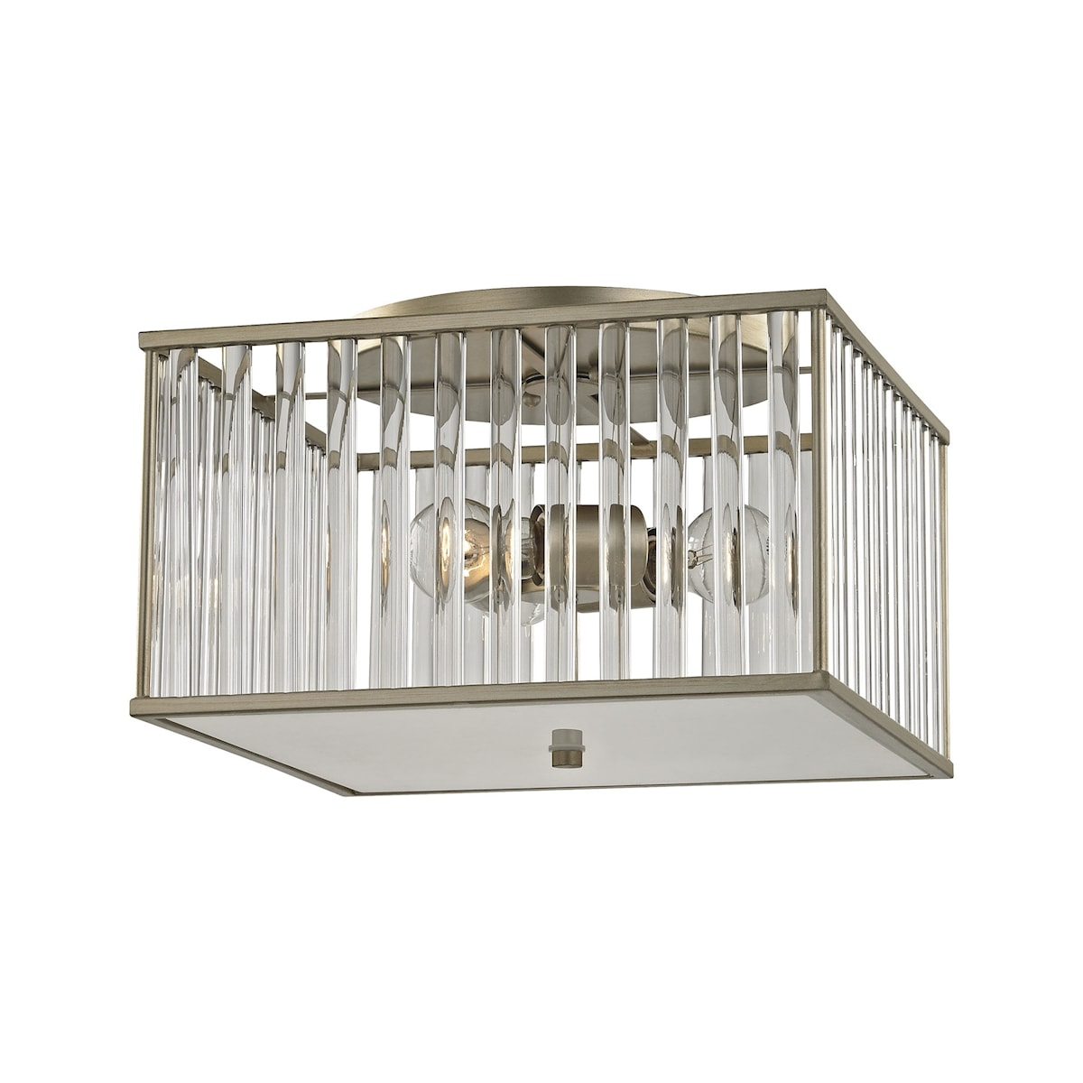 EL-81094/3_Ridley 3 Light Semi Flush in Aged Silver with Oval Glass Rods