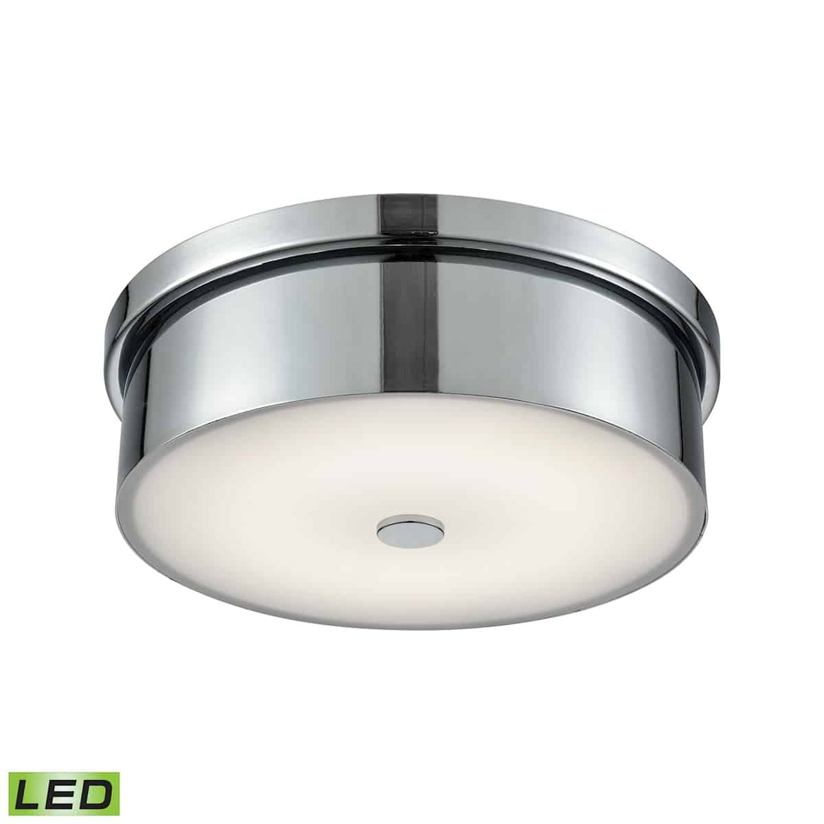 EL-FML4925-10-15_Sharp geometrics are part of this season's thematic core. Our Towne Series Flush Mount is as sharp as round can be. Boasts minimally articulated Chrome or Satin Nickel metalwork and cool Opal glass diffusion. Indoor use only.