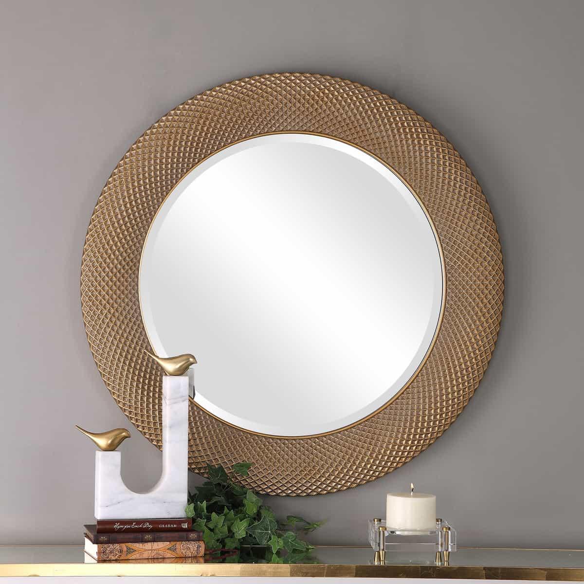Aziza Gold Round Mirror_U-09387