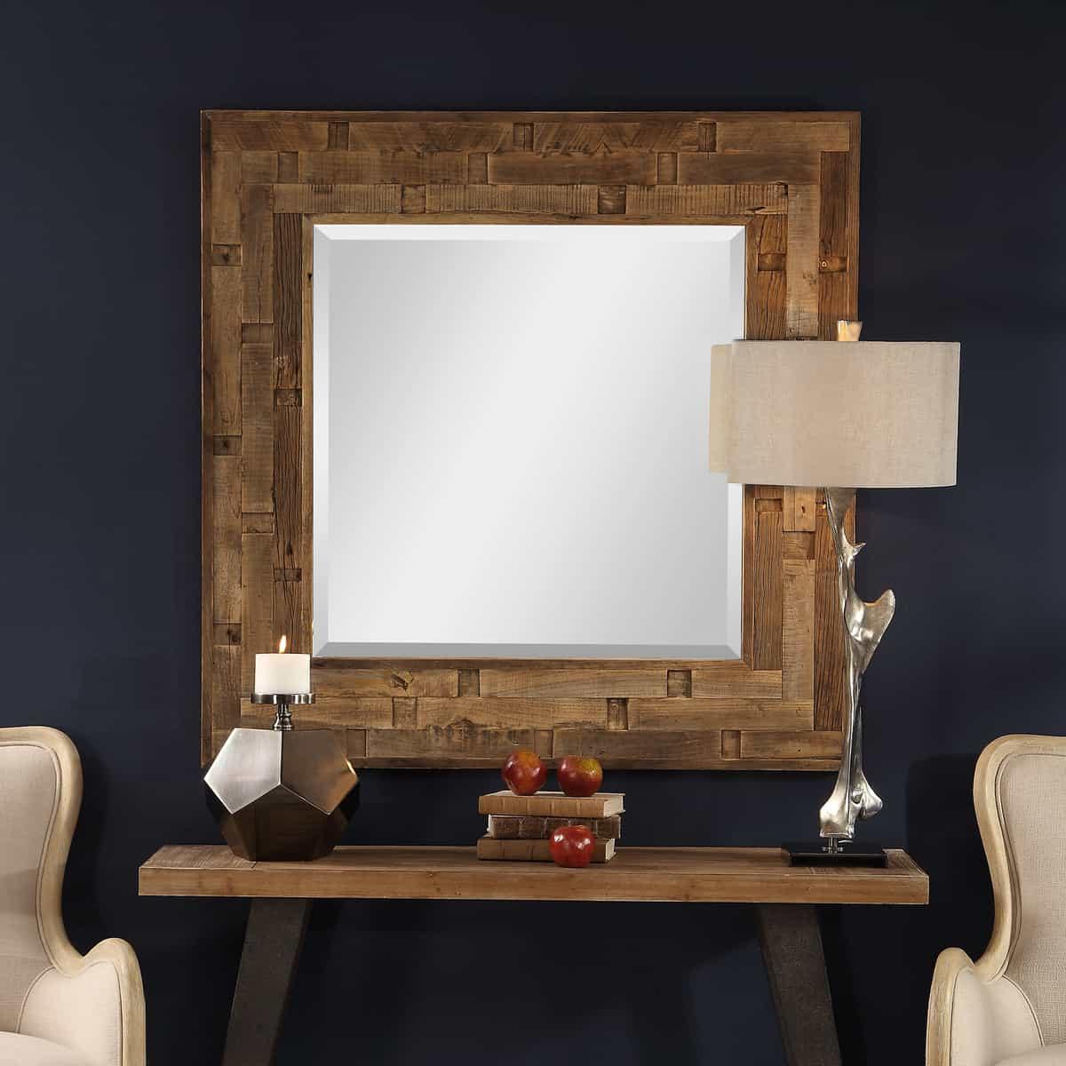 Emelin Wood Square Mirror_U-09536