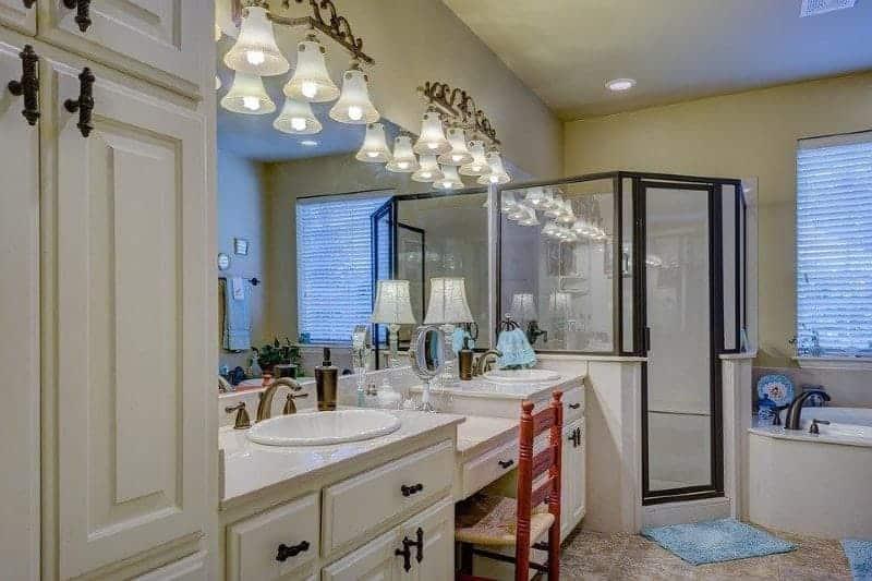 Lampshades in bathroom