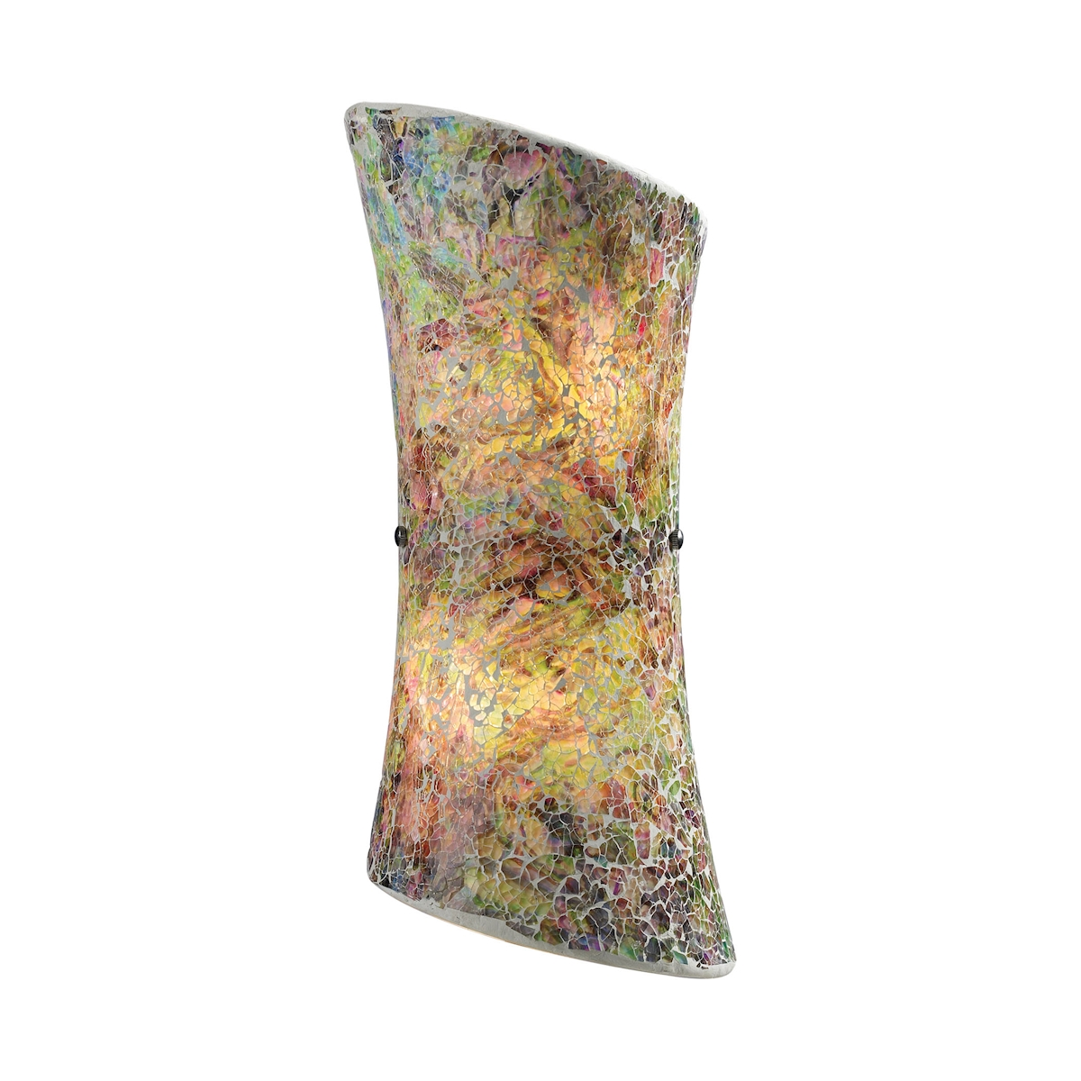Avalon 2-Light Sconce in Satin Nickel with Multi-colored Crackle Glass_EL-73020-2