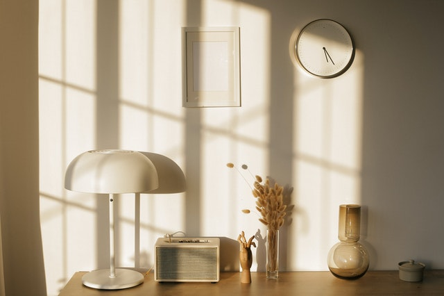 A table lamp, representing the best lighting options for an NYC studio apartment.