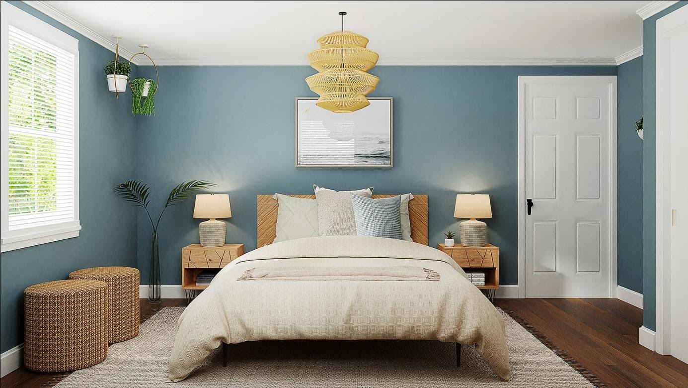 Interior design bedroom with blue walls and light pastel decor elements