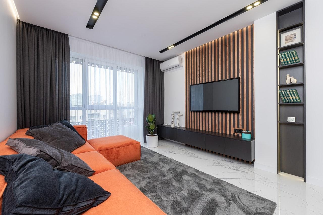 Black and orange interior design decor