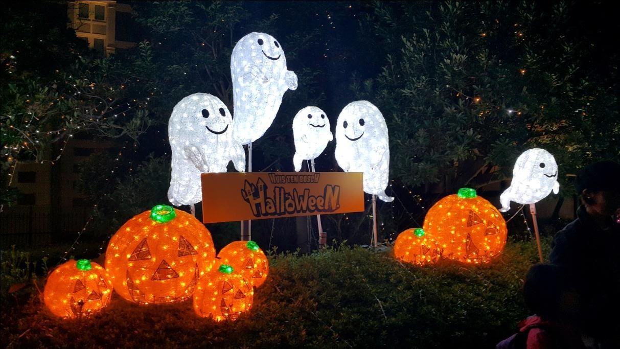 Ghost and pumpkin Halloween lanterns